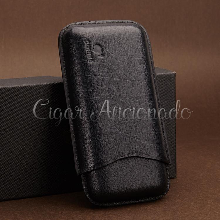 COHIBA Gadgets Portabel Black Soft Leather Cigar Case Travel Humidor Holder 3 Tube with Black Gift Box(China (Mainland))