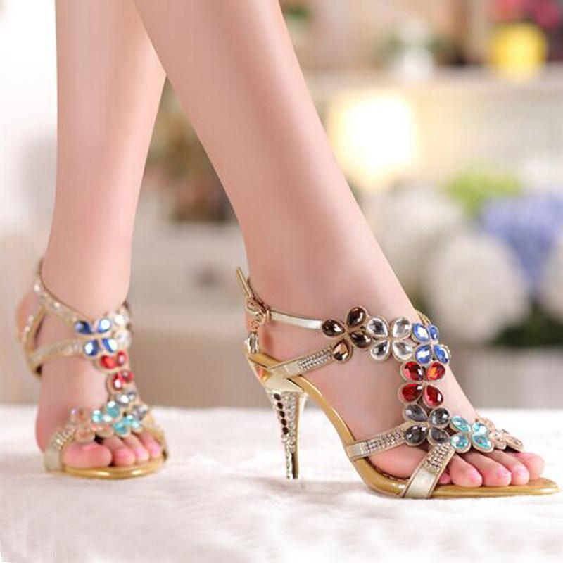 High Heel Sandals Beaded Rhinestone Open Toe Lady ...