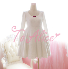 Pure White Backless Bows Lace Trim Winter Long Sleeve DRESS Fluffy Lolita Hollow Out Cute Design(China (Mainland))