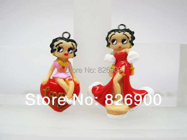 10 Betty Boop Charm Pendant Figurine (10 pieces) DIY Accessories ABB919 Wholesale(China (Mainland))