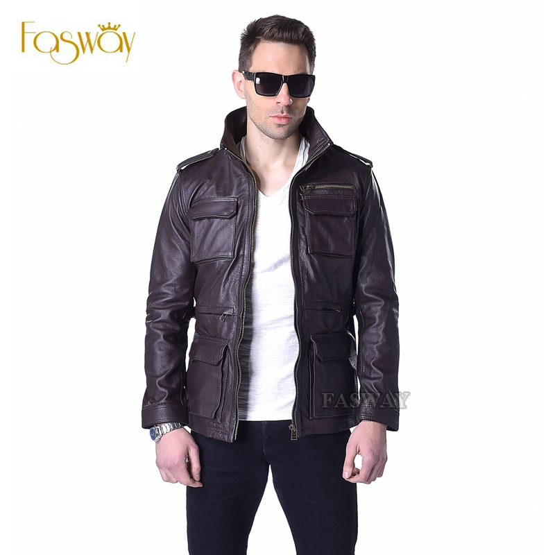 Factory M65 Genuine Leather Jacket Men Real Cow Skin Brand Wine Red Brown Military Bomber Motorcycle Bike Male Winter Coat ZH143(China (Mainland))
