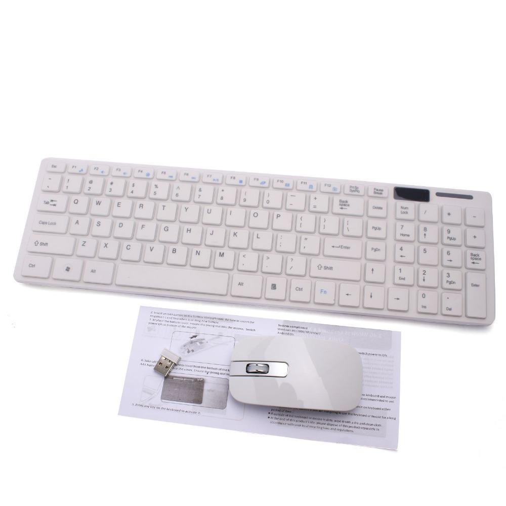 Wireless 2.4G White PC Keyboard +Mouse Keypad Film Kit Set For DESKTOP PC Laptop Free Shipping(China (Mainland))