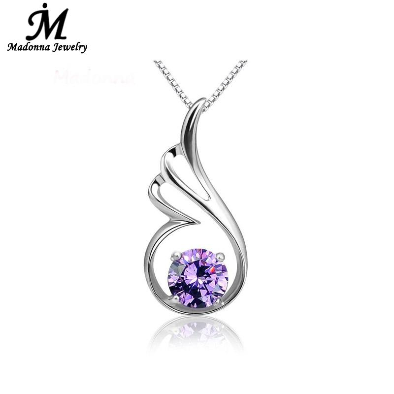 Popular Fashion Purple White Love Hearts Crystal Silver Plated Pendant Angel Wing Charm Women Silver Jewelry Wholesale(China (Mainland))