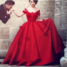 New Saudi Arabic Red Evening Dress Off the Shoulder Dubai Ball Gown Vestidos Custom Made Party Prom Gowns(China (Mainland))