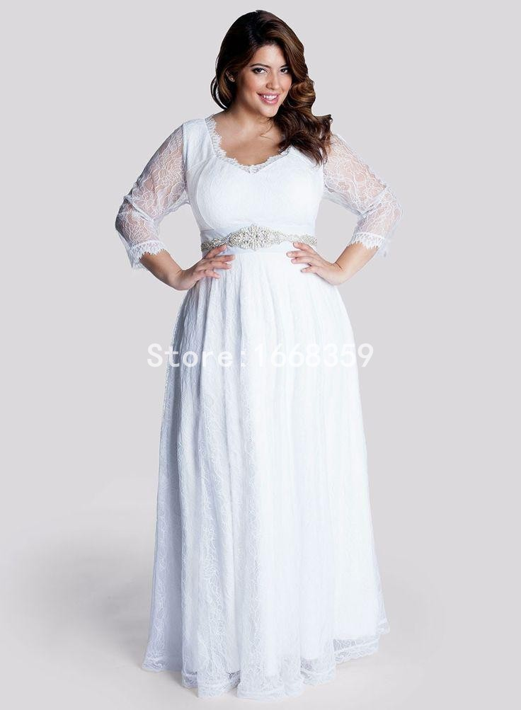 2015 plus size bridesmaid dresses with 3 4 sleeves v neck for Plus size lace wedding dresses with sleeves