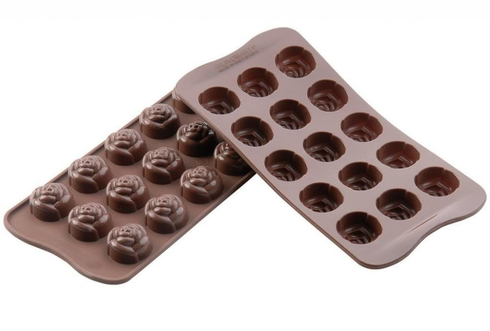DIY Silicone Mold Tray 15-cavities Rose Flower Shape Chocolate Sugar Ice Cake Candy Baking - Tomshow store