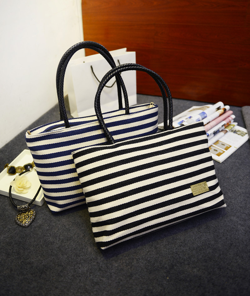 2014 women's small handbag hand knitted stripe canvas black white stripes casual shoulder bag female free ship - FASHIONAL ITEMS HERE, WELCOME!! store