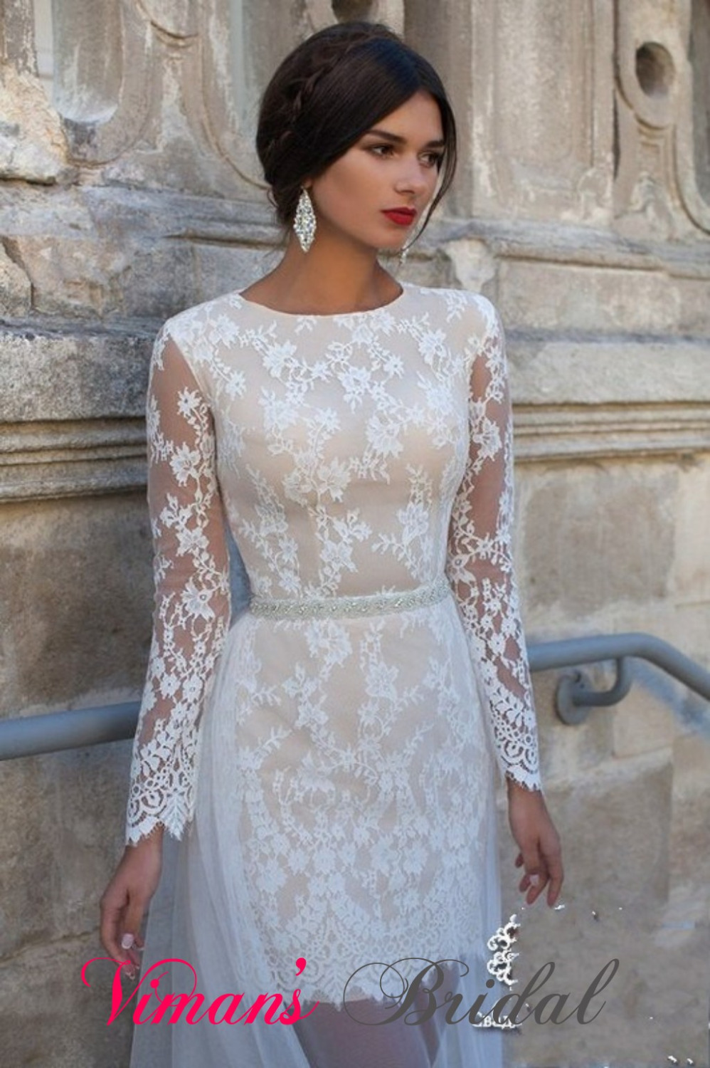 Lace appliques scoop ankle length sheath wedding dresses for Ankle length wedding dress with sleeves