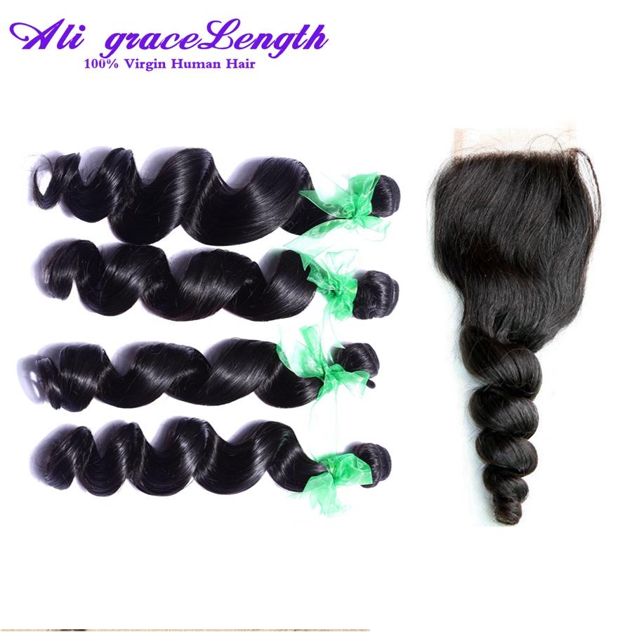 Grade 7A Malaysian Curly Hair closure bundles Loose Wave  Malaysian Curly Hair Closure 3 part  Malaysian Curly Hair Wig