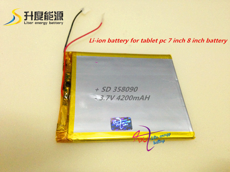 [358090] 3.7V 4200mAH (polymer lithium ion battery) Li-ion battery for tablet pc 7 inch 8 inch battery<br><br>Aliexpress