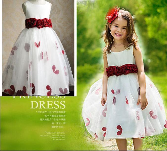 Belle bébé filles robes avec mode bourgogne Bowns genou - longueur A-line Flower Girl robes première communion robes pour filles(China (Mainland))
