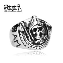 2014 New arrival!Fashion ring Sons of Anarchy Death Skull Ring For Man Stainless Steel men Jewelry Free shipping