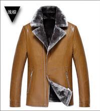 2017 Winter Turn-down Collar Warm Motorcycle Leather PU Jacket Men's Casual Jacket Luxury Fur Sheep Leather Parka Men Fur Coat(China (Mainland))