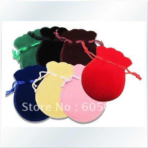 (Promotion Item) Free-shipping Polychromatic optional 7cm x 9cm Nice Jewellery pouch Gourd bag Gift Pouch, Red, Black, Blue(China (Mainland))