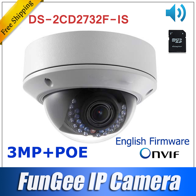 3MP Network IP camera Ds-2cd2732f-is Multilingual English firmware V5.2.5 Full HD1080P in stock mini dome camera poe sd card(China (Mainland))