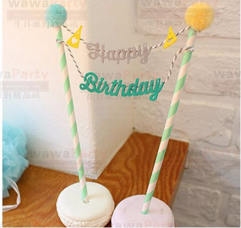 Happy Birthday Cake Topper Set for Kids Happy Birthday Party Decoration Supplies Baby Shower Party Decoration(China (Mainland))
