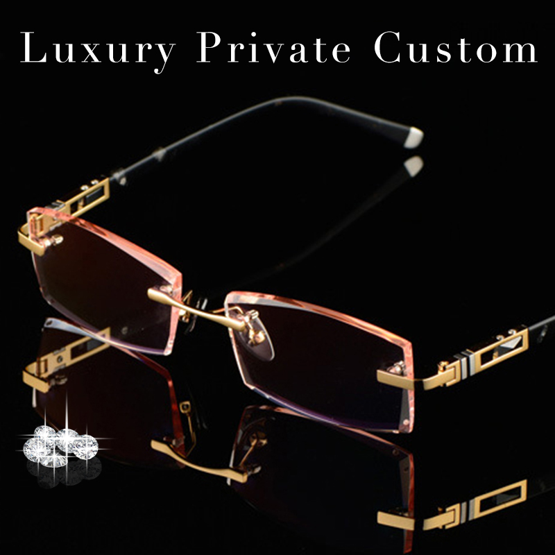 Luxury Private Custom Titanium Eyeglasses Rimless Men 1.61 ...