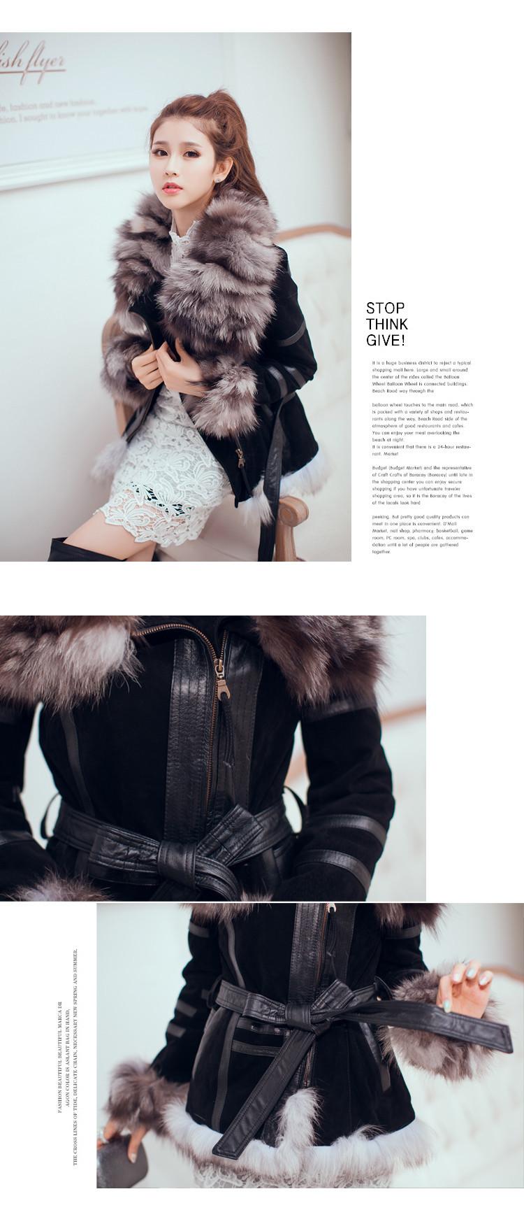 зимой женщин меха пальто куртка woth Лисий воротник overcoat.women Мех Пальто кожа coats.real Мех Пальто для женщин