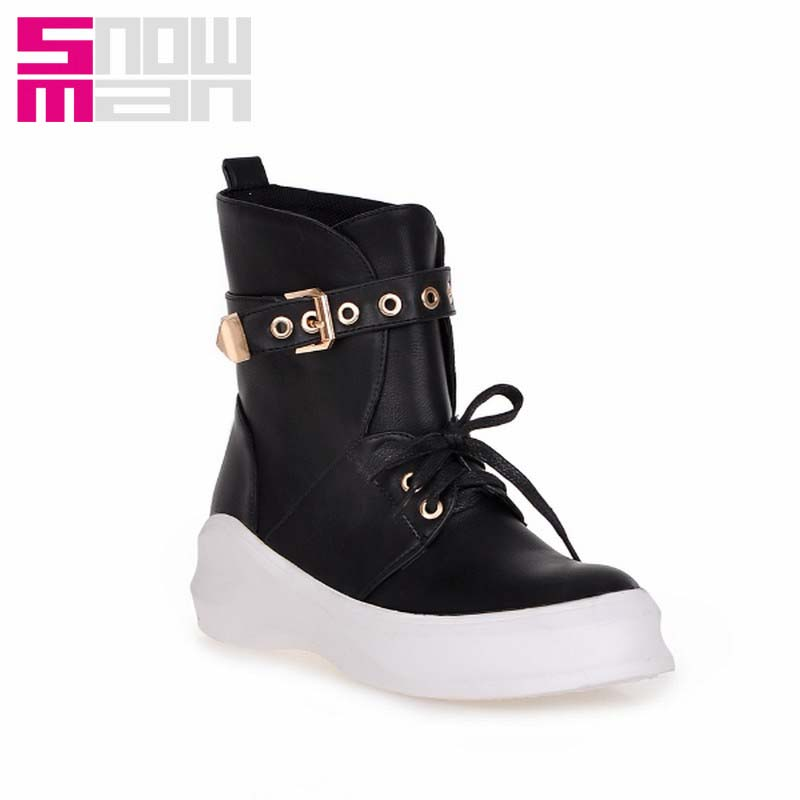 Brand Design Thick Sole Lace up Buckle Strap Martin Boots Leisure Wedges Platform Motorcycle Boots Fashion Autumn Winter Boots