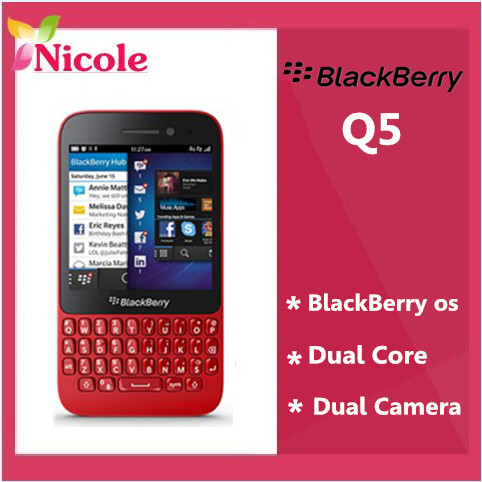 Original Blackberry Q5 Dual-core mobile phone 3G 4G Network 5MP 2 RAM+8G ROM Bluetooth MP3 By SG Post free shipping(China (Mainland))