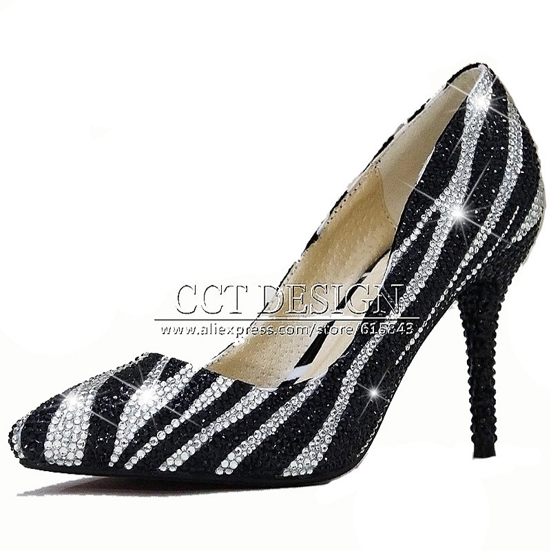 New Women Pumps Sexy High Heels Shoes Women Elegant Evening Party Dress Shoes Black Pointed Toe Crystal Shoes Free Shipping<br><br>Aliexpress