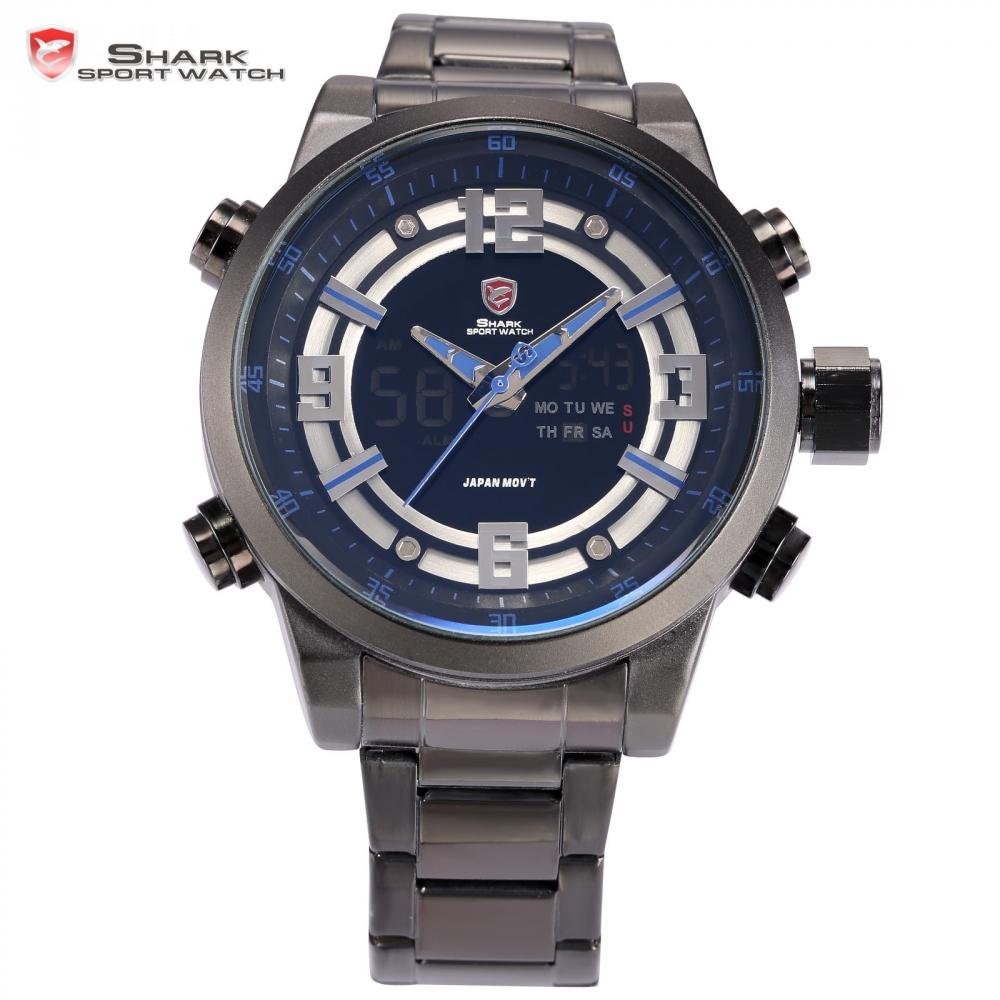 Kitefin Shark Sport Watch Luxury LCD Digital Auto Date Day Stopwatch Black Blue Alarm Quartz Clock Men's Military Watches /SH341(China (Mainland))