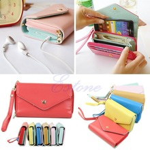 Hot Sell Korean Lovely envelope Purse Wallet Case for Samsung Galaxy S3,S2,Iphone 5/5S,4S/4 Free Shipping