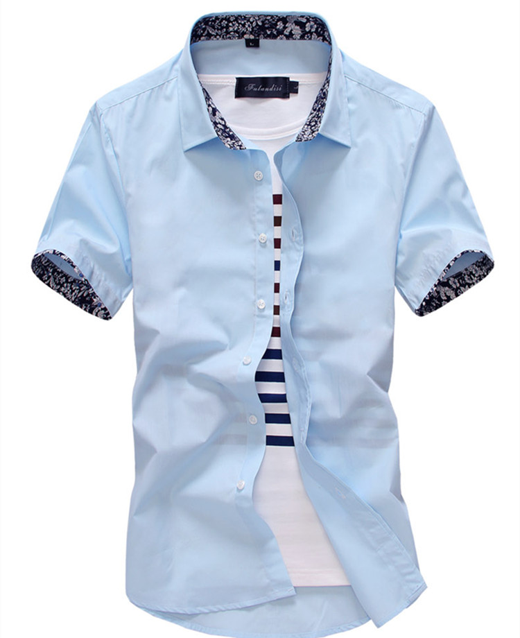Summer new arrival men 39 s shirt fashion solid short sleeve for Mens slim hawaiian shirt