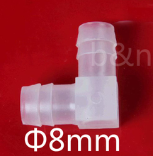 8mm dia. Plastic Barbed Elbow fitting Equal Elbow connector, L hose connector tube adapter 90 degree angle barb joint(China (Mainland))