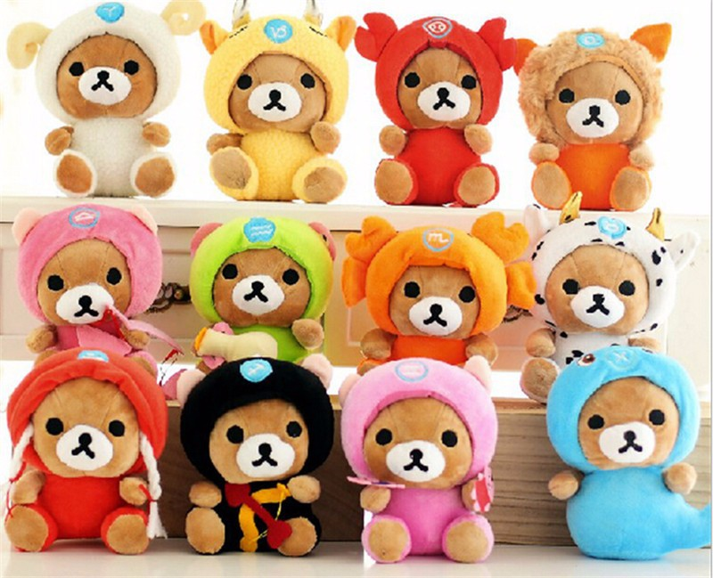 12pcs/lot 18cm Twelve Zodiac Relax Bear Plush Toy Stuffed Doll ,Kids Christmas Bear Toys,Pendant Toys WJ284(China (Mainland))