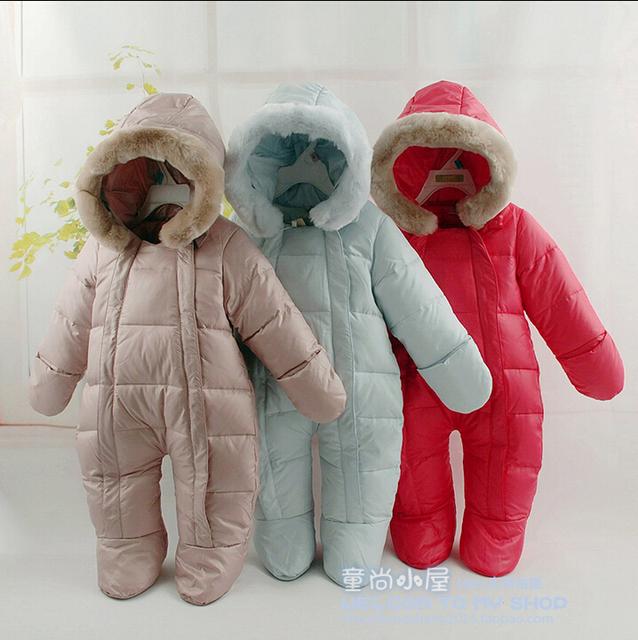Горячее надувательство 2016 новорожденных Зимние комбинезоны детские тепловые комбинезоны пуховики белая утка вниз верхняя одежда, новорожденных девочек мальчиков одежда