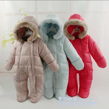 Новорожденный зима комбинезоны младенцы тепловой комбинезон вниз куртки белый утиный пух верхняя одежда, Детские девочки мальчики одежда