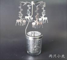 פמוטים מסתובב רומנטי מסתובב קרוסלה תה אור נר מחזיק חג המולד עץ צבי ארוחת ערב לאור נרות בית תפאורה מתנה(China)