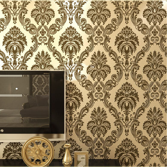 European damask wallpaper pvc flocking floral wall paper for Home wallpaper designs 2013