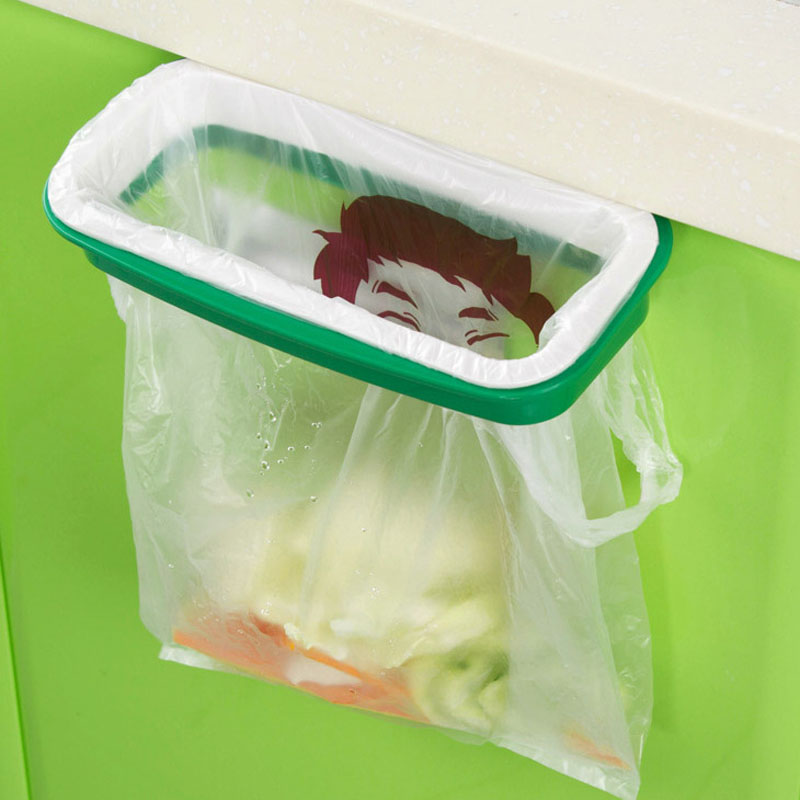 Garbage Bags Storage Rack Hanging Kitchen Cupboard Door Trash Stand Back Style creative Home Storage and Organization,LB1504(China (Mainland))