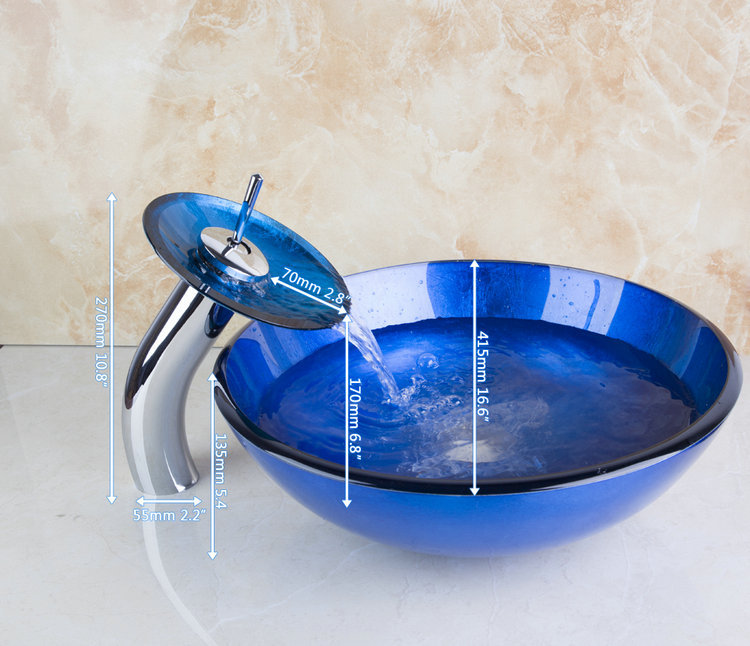 Newly Navy Blue Deck Mounted Construction Real Estate Bathroom Basin Vessel Faucet Tap Lavatory Glass Basin
