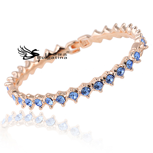 18K Rose Gold Plated Genuine Austrian Crystals Bangle Kors Bracelet Women Blue Pulsera Mujer KA1304-3 - Disha Findings store