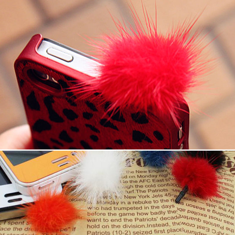 1x Rabbit Fur Ball Anti Dust Earphone Plug Cover Stopper Cap For Universal Phone(China (Mainland))