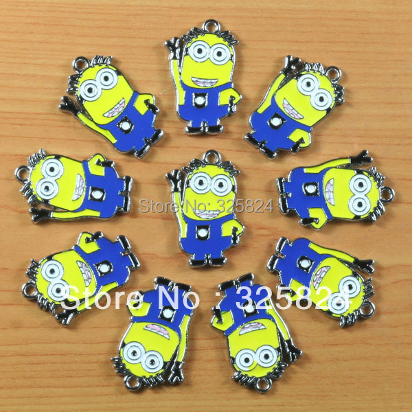 2Cute Despicable Minion Funny Metal Zinc Alloy Enamel Charms Pendants Girl Jewelry Craft Making DIY - The store