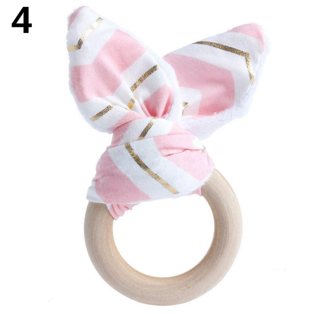 Safety Wooden Natural Baby Teething Ring Chewie Cute Teether Training Bunny Sensory Toy Hot Sale