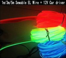 1m/3m/5m Sewable EL Wire Tron Glow Wire Easy Sew Tag flexible led Neon Strip + 12V car inverter driver Free shipping(China (Mainland))