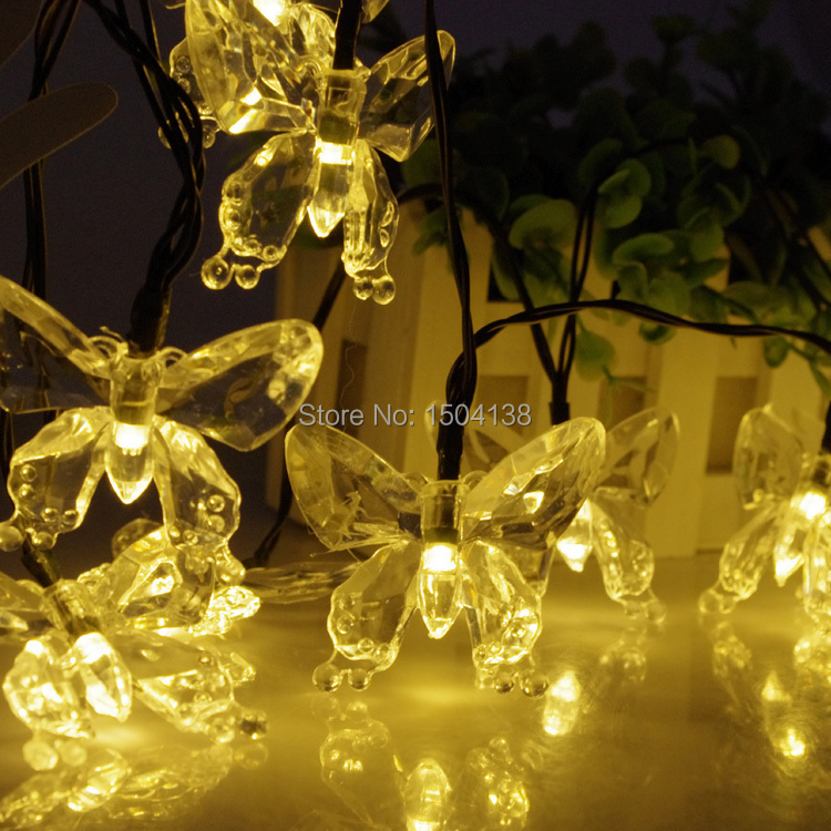 Solar Powered 20 Led Butterfly fairy light Christmas holiday Light outdoor party Lamp solar led string Light garden decoration(China (Mainland))