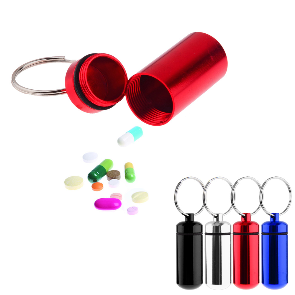 Brand new 1pcs Small Pill Case Tablets Holder first aid box Container with Key Ring Color Random(China (Mainland))