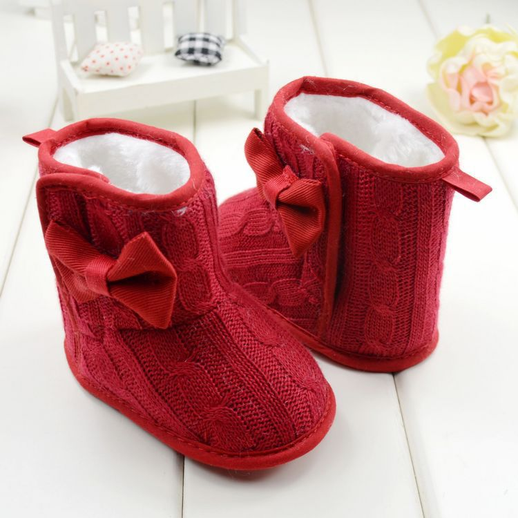 Baby Girl Knit Bowknot Faux Fleece Soft Sole Kids Woolen Yam Knit Fur Snow Boot(China (Mainland))
