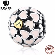 Buy BISAER Gift Love Pink Enamel Authentic Beads fit Pandora Charm Bracelet Charm Gold Heart Charms Sterling Silver Beads S925 for $4.44 in AliExpress store