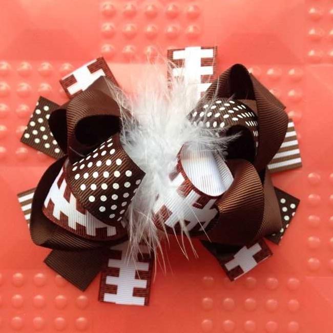 12 pcs 5.5-6 inch baby girl head hair accessories children fashion feather hair football ribbon bows clip yiwu bows headwear(China (Mainland))