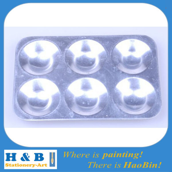 Free shipping 6-Well Paint Palettes Aluminium Palette Art Supplies Oblong(China (Mainland))