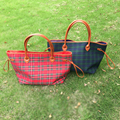 On Sale Wholesale Blanks Plaid Large Tote Bag Canvas Casual Tote Shopping Bag with Large Capacity