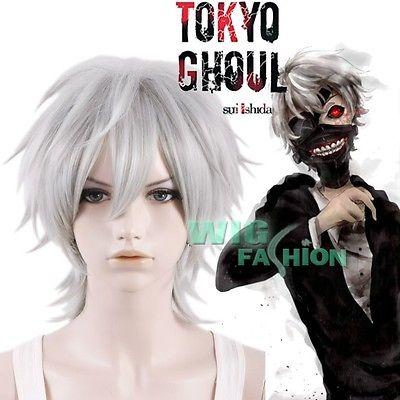 "Гаджет  Tokyo Ghoul Tokyo Guru Ken Kane 12""  Short Straight Silver Grey Cosplay Hair Wig +Free Wig Cap None Изготовление под заказ"