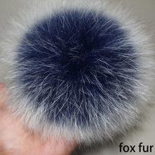 DIY Pompons 14-15 cm Big Fox Fur Real Natural Fur Pompom Pompom Fofo Bola Poms do Pom da Pele para gorros de malha Chapéus Caps keychain(China)